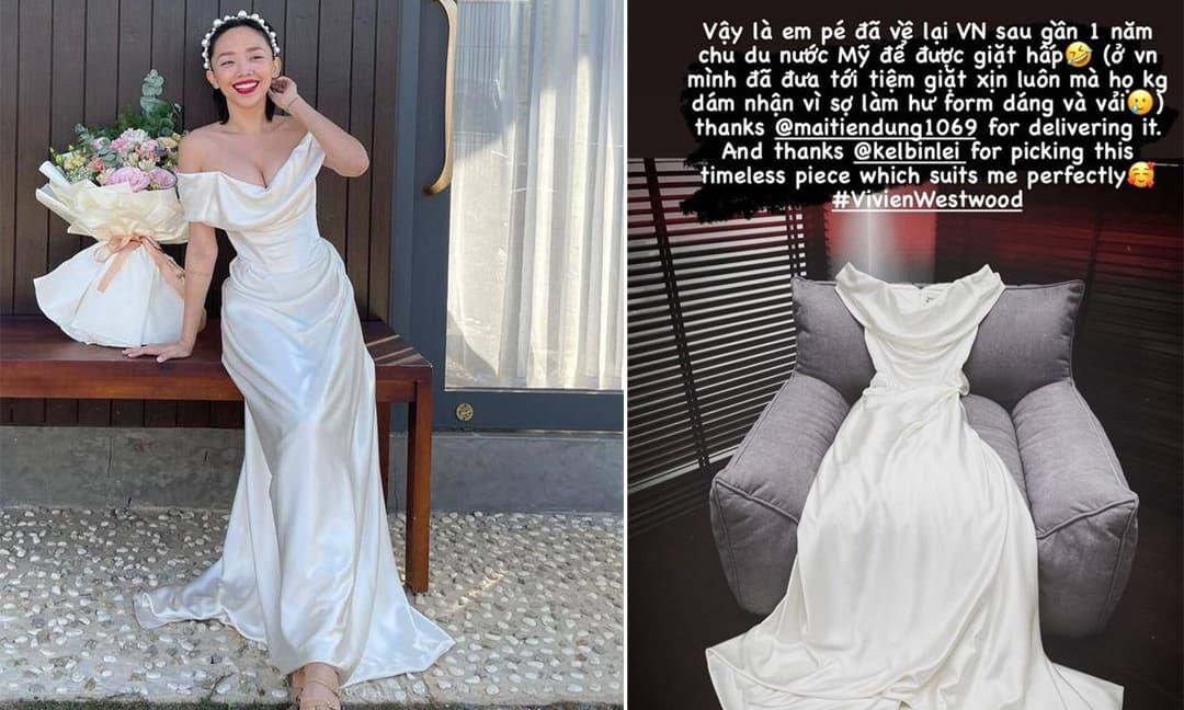 Váy cưới của Tóc Tiên đưa ra tiệm giặt xịn của Việt Nam không dám nhận, phải chuyển qua Mỹ giặt hấp