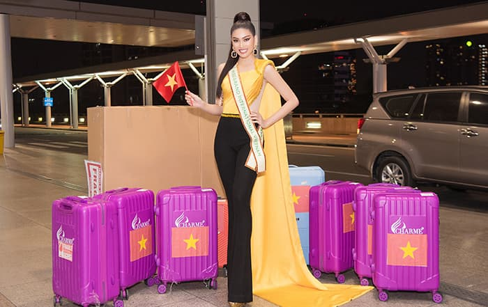 Ngọc Thảo mang gần 150kg hành lý dự thi Miss Grand International