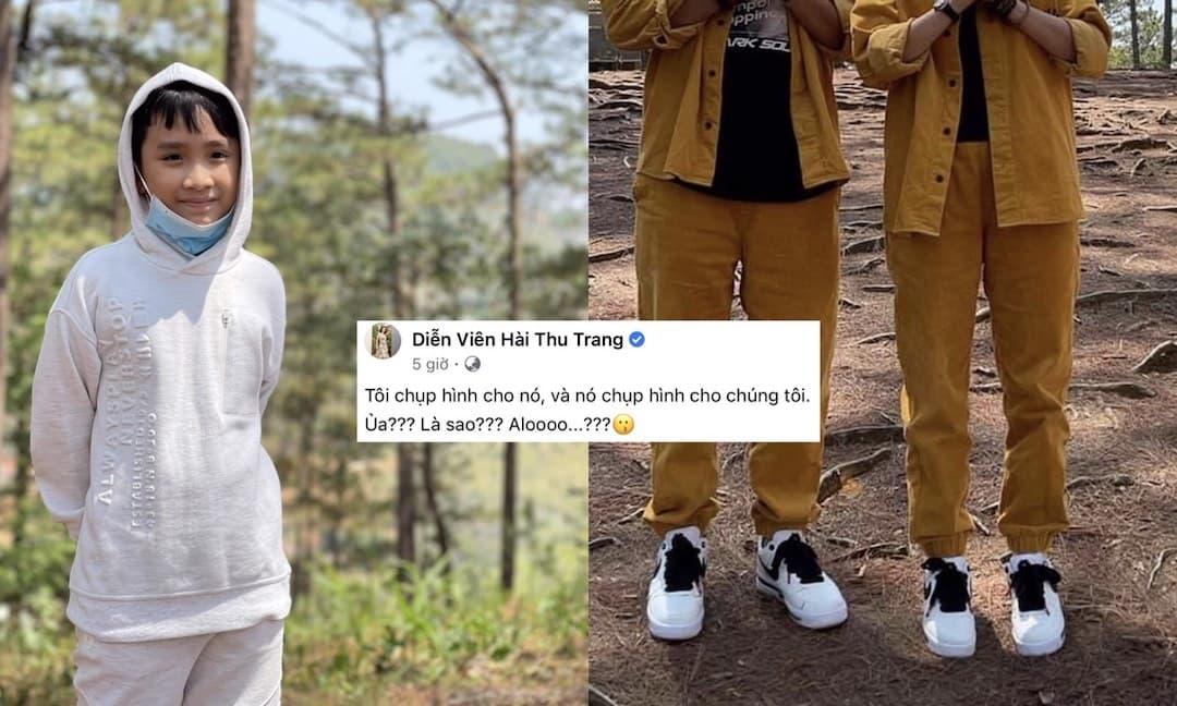 """Thu Trang """"đau khổ"""" đăng hình con trai chụp 'dìm hàng' 2 vợ chồng, fan nhìn ra ngay là """"khoe giày hiệu trá hình"""""""