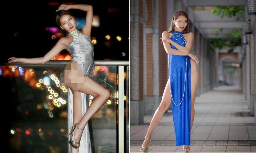 Nữ người mẫu mặc áo dài cách tân quên quần phản cảm khiến dư luận phẫn nộ