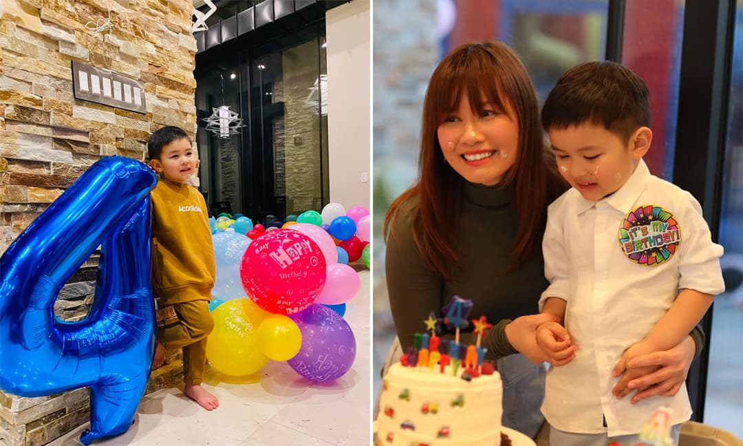Bà xã Đan Trường trang hoàng biệt thự để mừng sinh nhật 4 tuổi của con trai