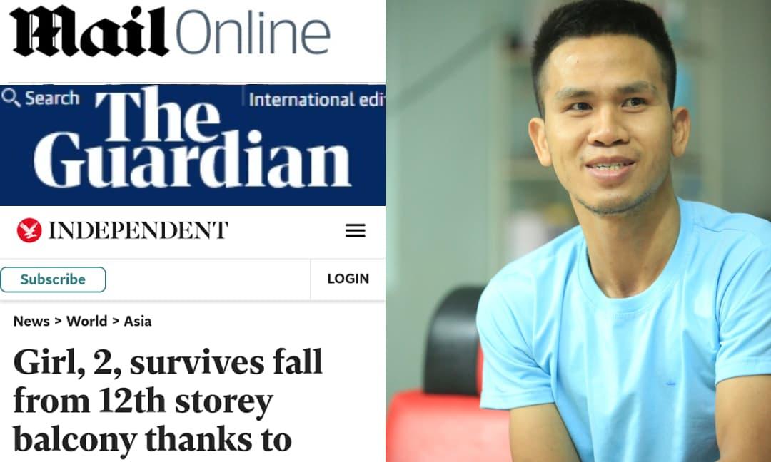 Báo Anh đồng loạt đăng bài về khoảnh khắc Nguyễn Ngọc Mạnh cứu bé gái và gọi anh là 'người hùng'