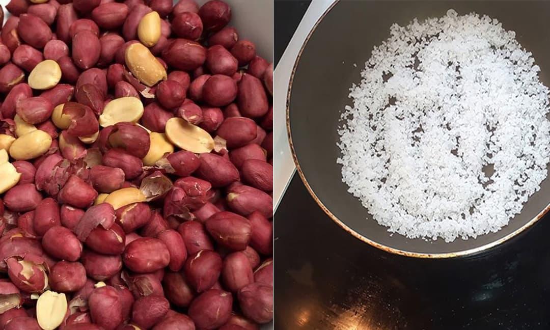 Khi rang lạc mà cho thêm ít muối, đảm bảo thành phẩm sẽ đỏ và giòn lâu hơn