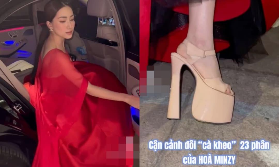 Hòa Minzy khoe cận cảnh đôi cao gót 23 phân, netizen tấm tắc khen: 'Quả có tài mới đi được đôi cà kheo này'