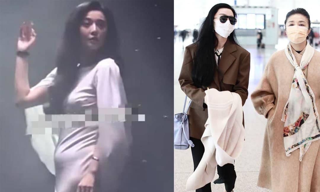 Phạm Băng Băng đeo thắt lưng nhưng tay vẫn ôm áo che bụng khi xuất hiện ở sân bay sau nghi vấn bầu bí
