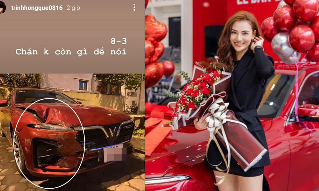 Hồng Quế gặp tai nạn khiến xế cưng vừa mới tậu bị hư hại, móp đầu nghiêm trọng