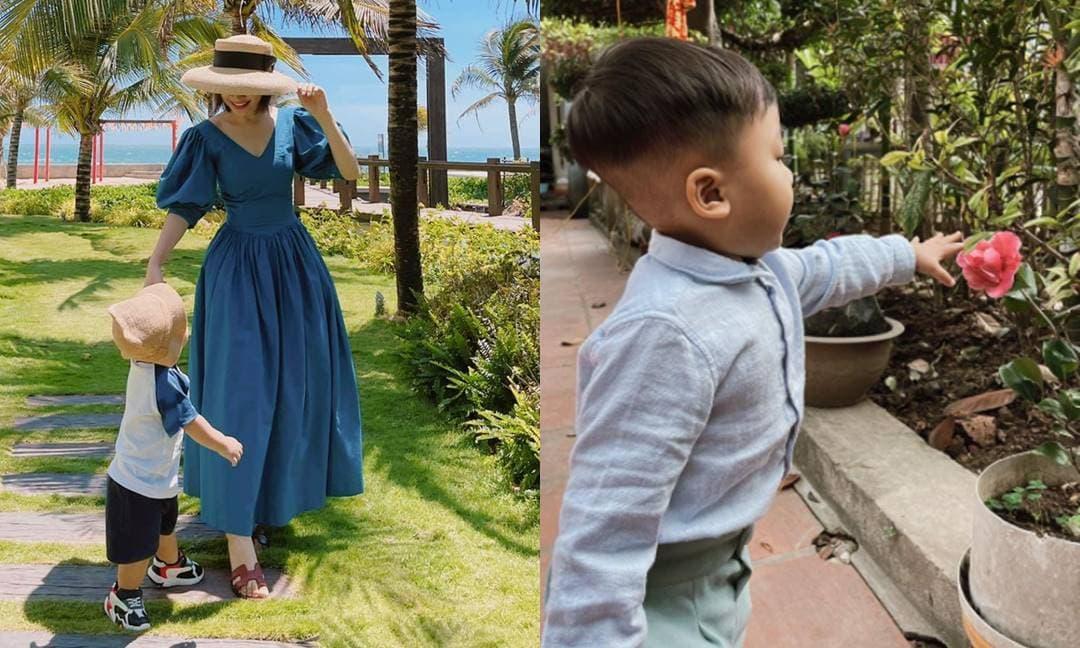 Hòa Minzy khoe thêm hình ảnh góc nghiêng của con trai với má phúng phính cực yêu