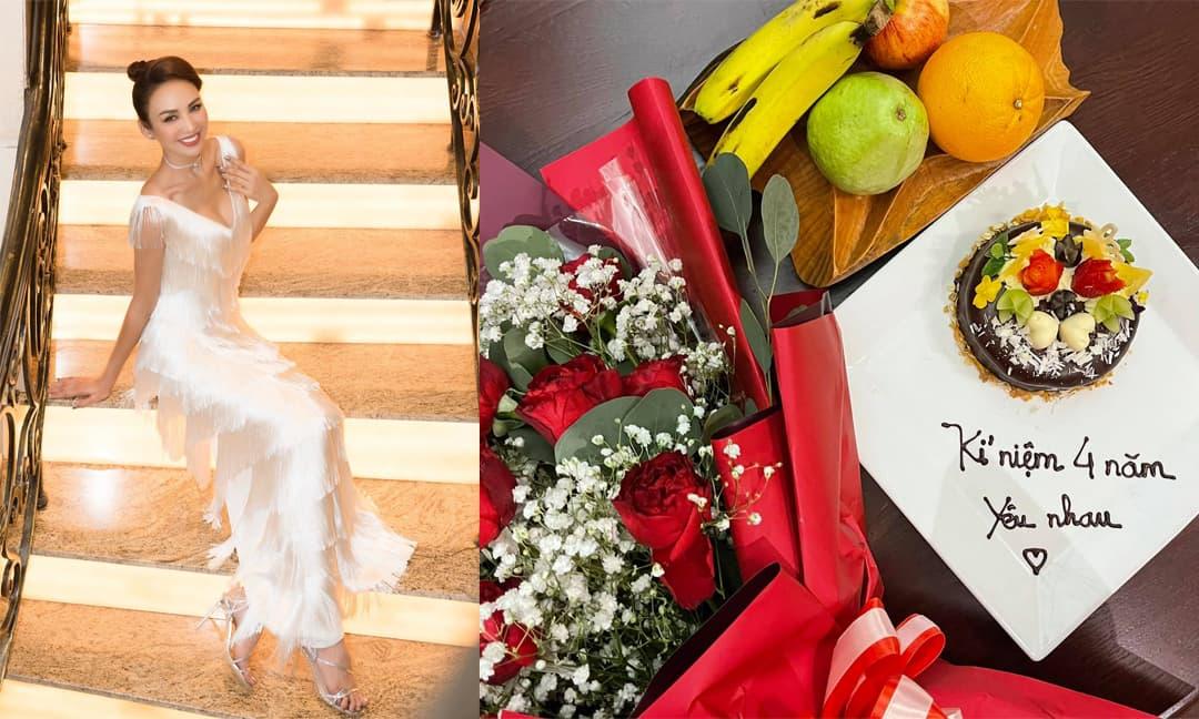 Hoa hậu Ngọc Diễm kỉ niệm 4 năm yêu nhau với bạn trai
