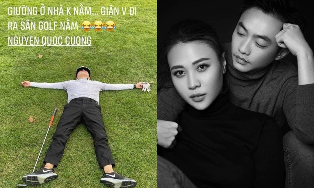 Đàm Thu Trang 'tố' Cường Đô La giận dỗi không chịu ngủ trên giường, còn đăng ảnh 'ăn vạ' cực hài của ông xã