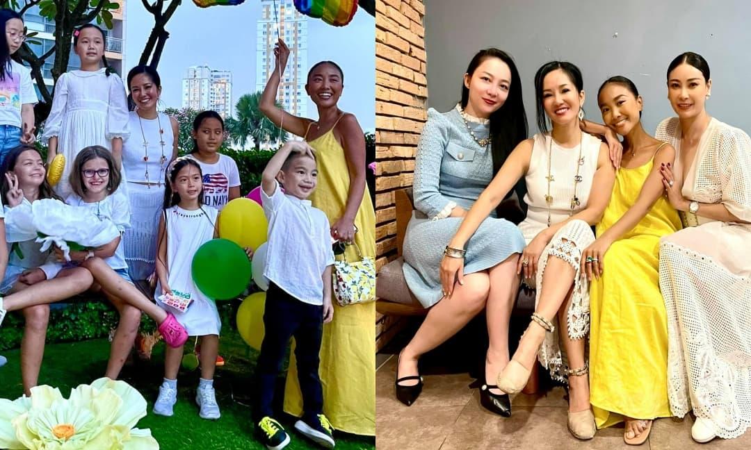 Hồng Nhung mở tiệc sinh nhật 9 tuổi cho cặp song sinh, nhưng màn đọ sắc của hội mỹ nhân U40, U50 mới chiếm spotlight