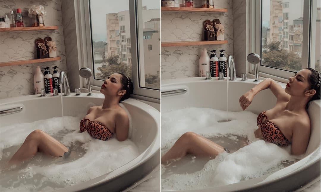 Bạch Lan Phương tung ảnh trong phòng tắm khoe vòng một căng đầy, bảo sao Huỳnh Anh mê mệt