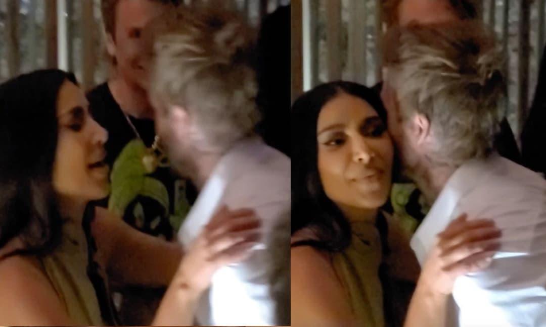 Kim Kardashian ôm hôn David Beckham trong buổi tiệc sinh nhật của Victoria