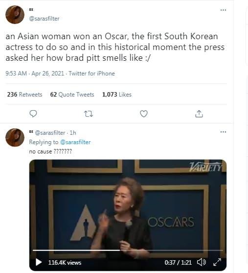 Bị hỏi vô duyên về 'mùi của Brad Pitt' trên thảm đỏ Oscar, nữ diễn viên gạo cội Hàn Quốc có màn đáp lại cực 'gắt' khiến cư dân mạng hả hê 7