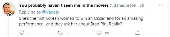 Bị hỏi vô duyên về 'mùi của Brad Pitt' trên thảm đỏ Oscar, nữ diễn viên gạo cội Hàn Quốc có màn đáp lại cực 'gắt' khiến cư dân mạng hả hê 5