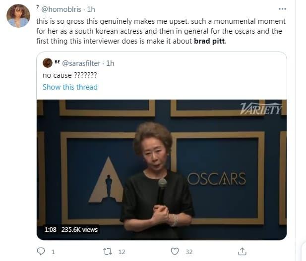 Bị hỏi vô duyên về 'mùi của Brad Pitt' trên thảm đỏ Oscar, nữ diễn viên gạo cội Hàn Quốc có màn đáp lại cực 'gắt' khiến cư dân mạng hả hê 2