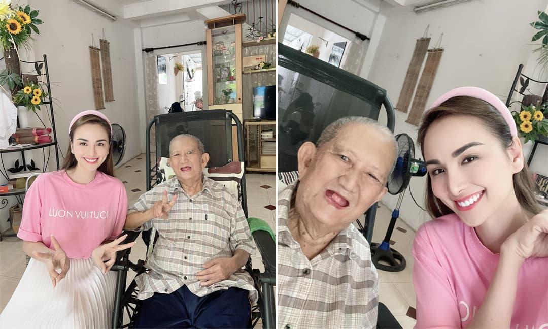 Hoa hậu Diễm Hương đến thăm nghệ sĩ Mạc Can