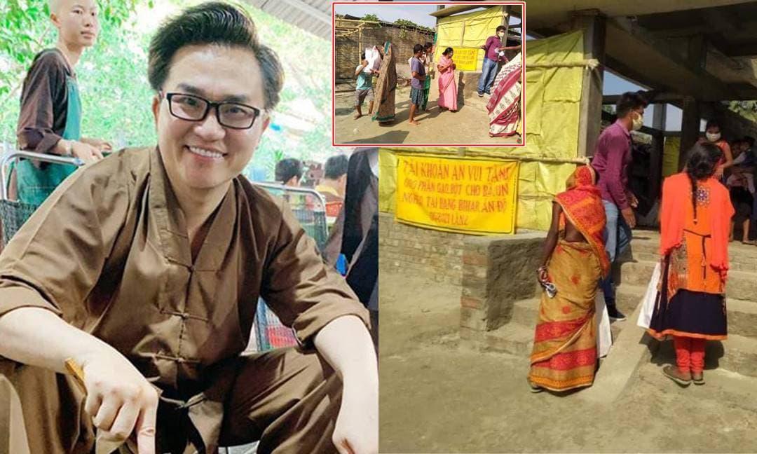 Người dân Ấn Độ xếp hàng nhận khẩu trang và lương thực từ MC Đại Nghĩa