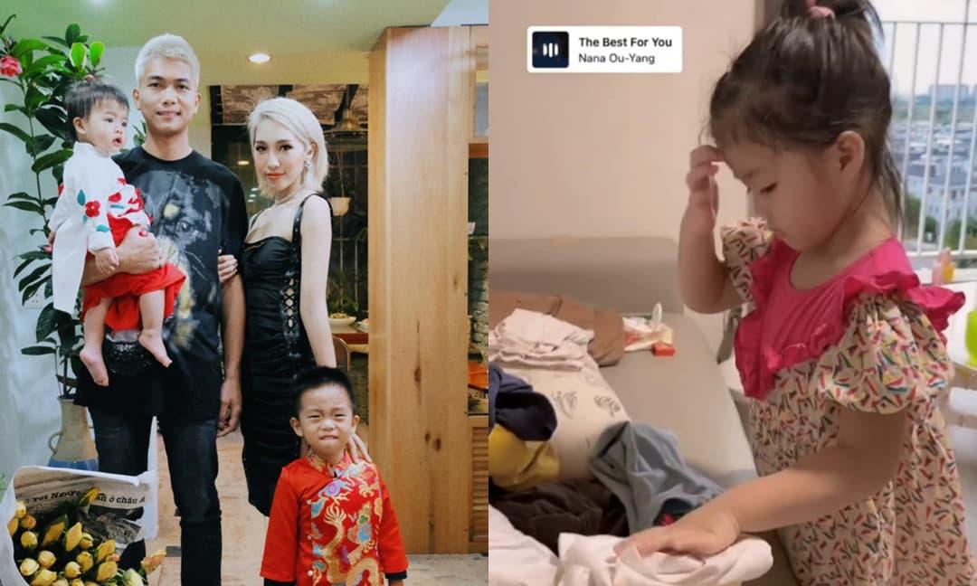 Emily hạnh phúc khoe khoảnh khắc con gái cưng đã biết giúp đỡ ba mẹ