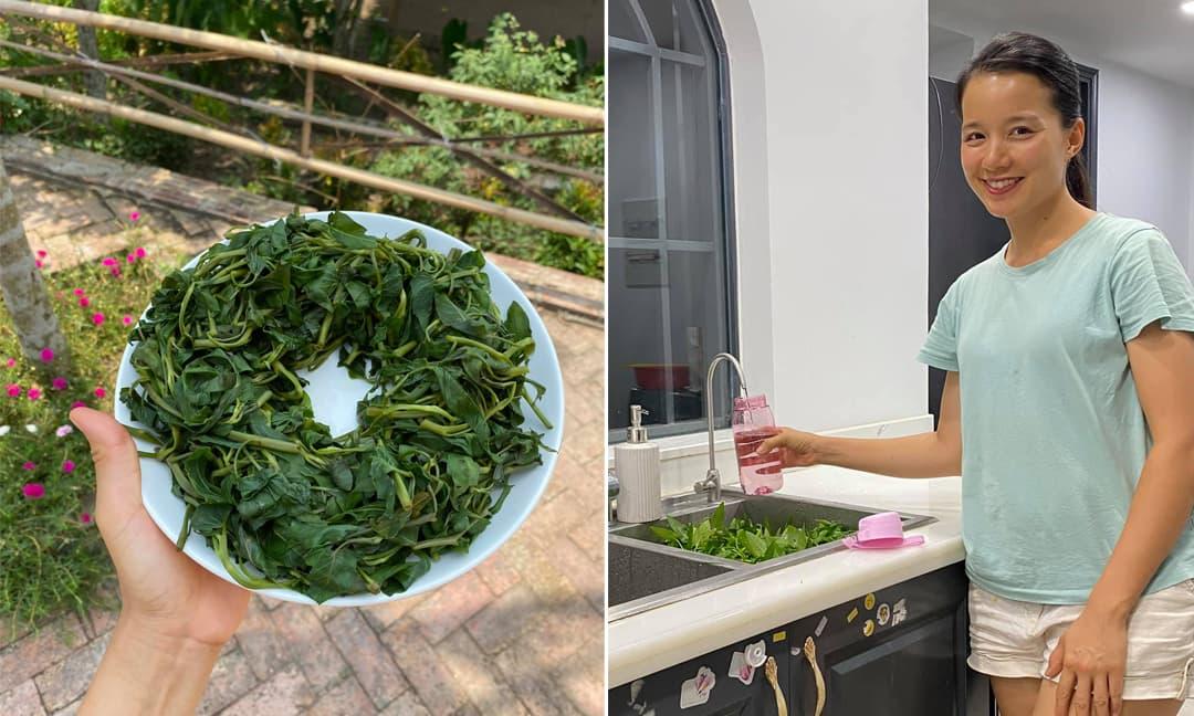 MC Minh Trang chia sẻ một mẹo nhỏ khi vớt rau muống ra đĩa để rau được xanh, không bị nhừ nhũn