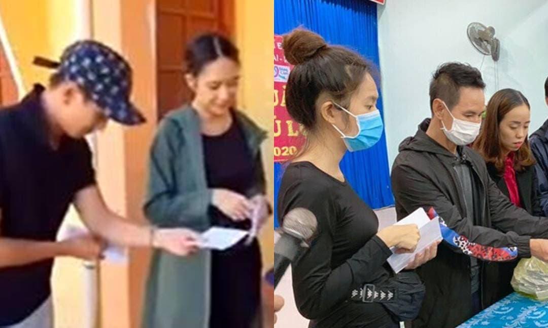 Dân mạng bất ngờ khui lại clip Lý Hải và bà xã từ thiện miền Trung: Đưa tiền bằng hai tay và nụ cười rất thân thiện