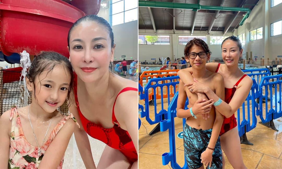 Hoa hậu Hà Kiều Anh diện đồ bơi, cùng các con vui chơi tại Mỹ
