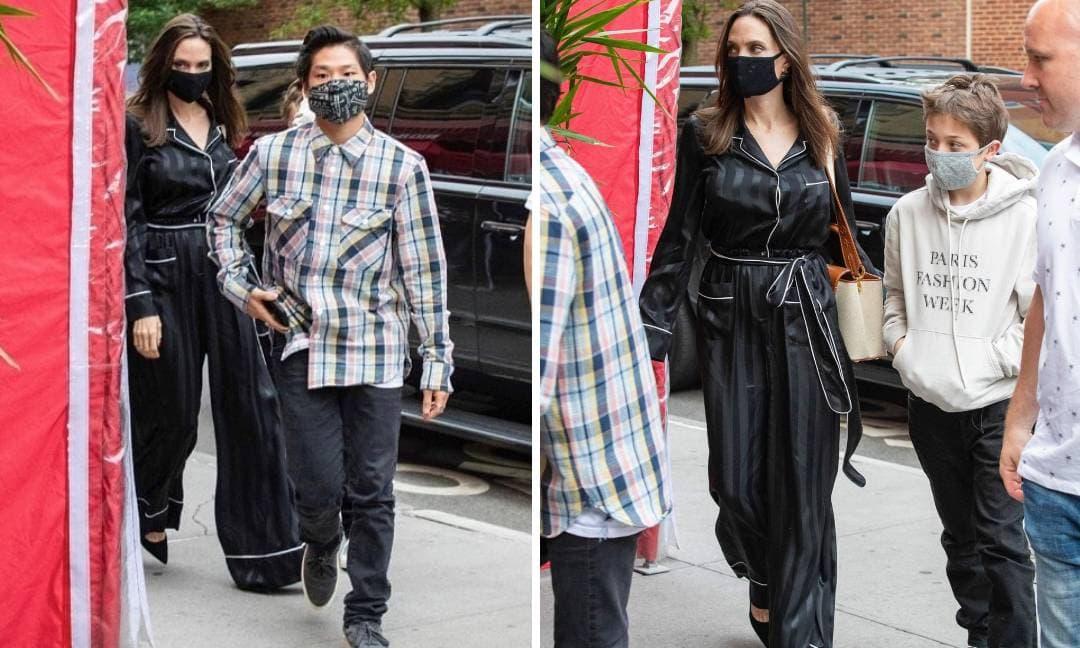 Angelina Jolie vô tư mặc trang phục như đồ ngủ xuống phố cùng con trai nuôi gốc Việt