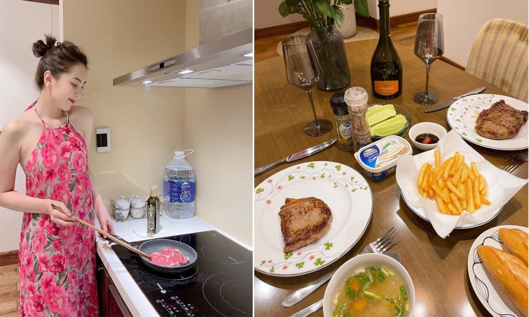 Vỡ kế hoạch đi Nha Trang, Mai Ngọc tự tay chuẩn bị bữa tối lãng mạn mừng sinh nhật chồng