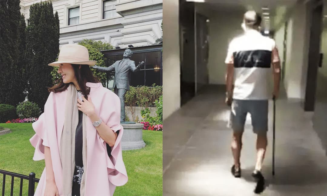 Chồng đại gia của 'Hoa hậu đẹp nhất Hong Kong' Lý Gia Hân chống nạng đi khám bệnh một mình, dáng vẻ già nua tiều tụy đối lập hẳn với vợ