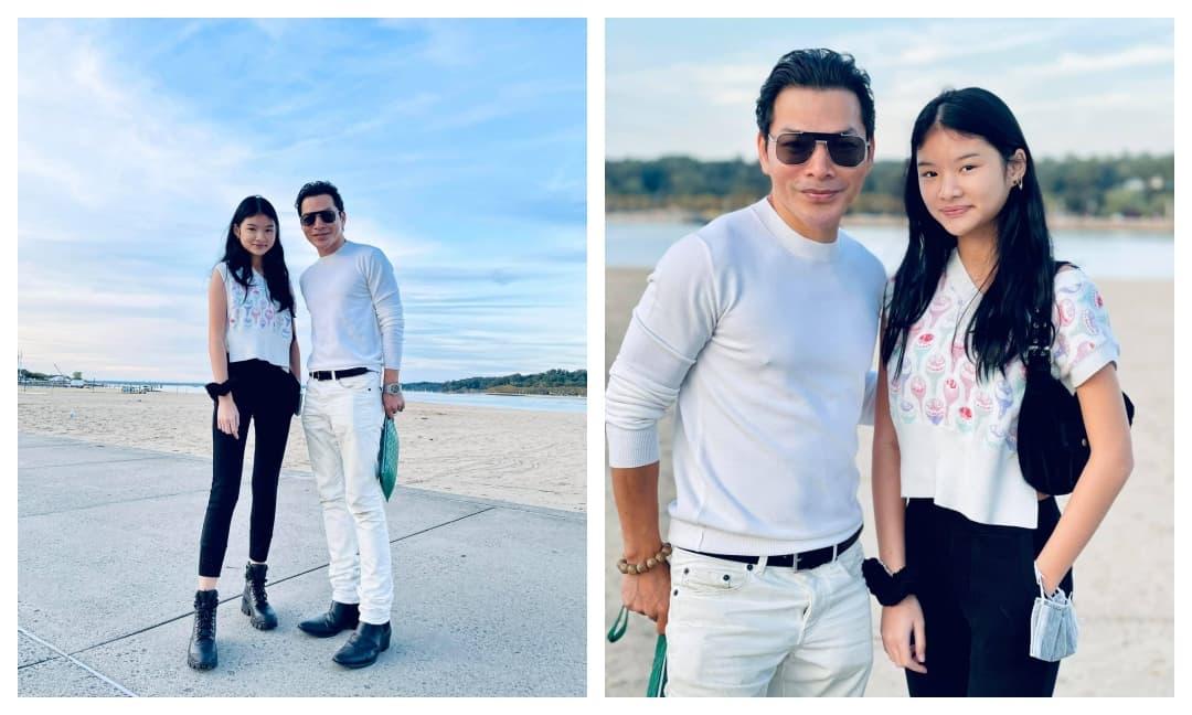 Trần Bảo Sơn khoe ảnh cuối tuần vui vẻ cùng con gái dạo phố, vóc dáng nhóc tì cao lớn sau vài tháng ở Mỹ