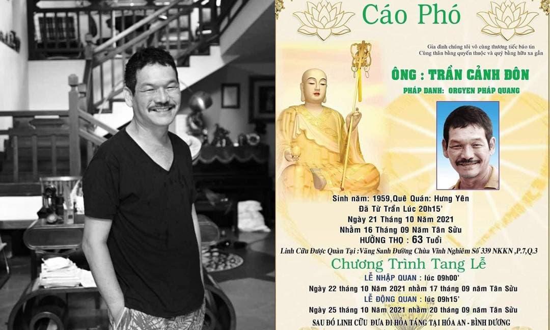 Thông tin chính thức về tang lễ của đạo diễn Trần Cảnh Đôn