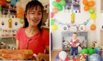 Xuân Thuỳ 'Cô gái xấu xí' tự tay trang trí, tổ chức sinh nhật 1 tuổi cho con trai