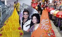 Bà trùm Thuý Nga diện áo cưới dài 5m kết hôn cùng MC Thanh Bạch lần thứ 10