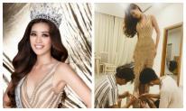 Hình ảnh hiếm hoi Hoa hậu Khánh Vân để mặt mộc, chỉnh đầm dạ hội trước đêm chung kết