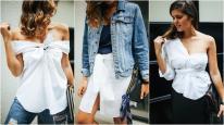 Áo sơ mi trắng có thể thay đổi thành 4 kiểu áo mới đầy cá tính và gợi cảm