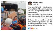Hồ Việt Trung chính thức lên tiếng khi bị chỉ trích vì ném đồ cứu trợ cho người dân vùng lũ