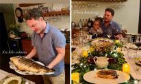 Chồng cũ Hồng Nhung tự tay nấu nướng, tổ chức lễ Tạ ơn cùng vợ con