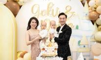 Vợ chồng MC Thành Trung tổ chức tiệc sinh nhật hoành tráng cho cặp song sinh