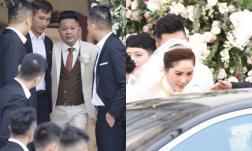 Trực tiếp lễ rước dâu của Bảo Thy: Cô dâu xuất hiện xinh đẹp bên ông xã, di chuyển ra nhà thờ làm lễ