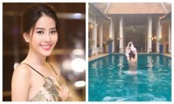 Yên bình một thời gian, Nam Em lại khiến fan 'mất máu' khi cởi áo khoe thân trong bể bơi