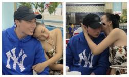 MC Hoàng Oanh và chồng Tây ôm hôn cực tình ở quán ăn trong tuần trăng mật