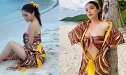 Hoa hậu Kỳ Duyên lại 'phanh ngực áo' phô diễn vòng một hững hờ