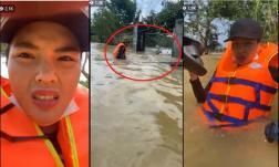 Kỳ Duyên và Minh triệu bị lật thuyền khi đi cứu trợ người dân miền Trung