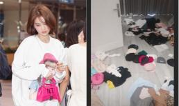 Trước khi đi Hàn Quốc, Ngọc Trinh bày đồ hiệu bừa bãi ra khắp nhà để lựa chọn