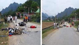 Lạng Sơn: 2 xe máy đối đầu ở tốc độ cao, 5 nạn nhân thương vong