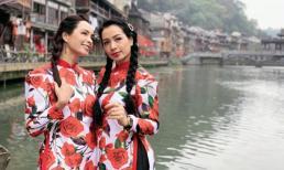 Thúy Hằng - Thúy Hạnh đọ sắc khi cùng gia đình đi du lịch Trung Quốc