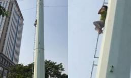 Thanh niên nghi 'ngáo đá' tưởng mình là người nhện, ngồi hàng giờ trên cột điện cao thế ở Hà Nội