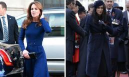 Cùng chọn màu xanh navy, Công nương Kate thanh lịch bao nhiêu thì cô em dâu Meghan lại nặng nề bấy nhiêu