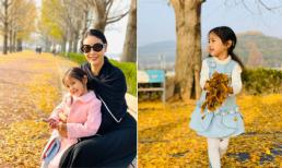 Hoa hậu Hà Kiều Anh cùng con gái đi ngắm lá vàng ở Hàn Quốc