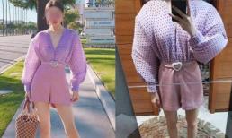 Thảm họa mua hàng online: Bộ jumpsuit tay phồng tím mộng mơ hóa thành bộ 'siêu nhân cơ bắp'