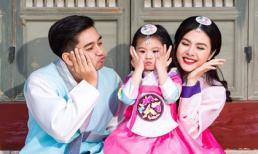 Gia đình Vân Trang mặc hanbok, hạnh phúc đi chơi ở Hàn